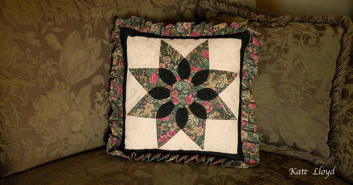 """Amish-made 17 """" square quilted pillow from Lancaster County, PA"""