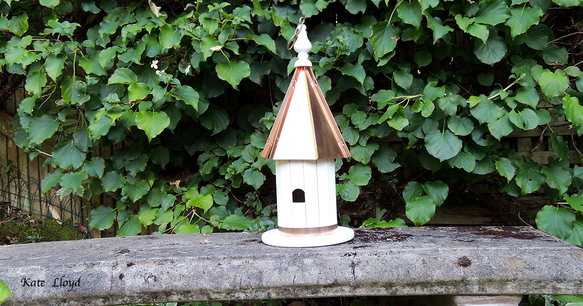 """Tasteful 19"""" Copper-roofed Amish-made Birdhouse from Lancaster County, PA."""