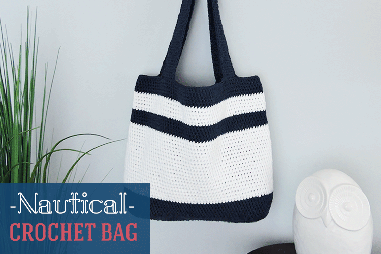 Nautical Crochet Bag Pattern; Free pattern by Just Be Crafty