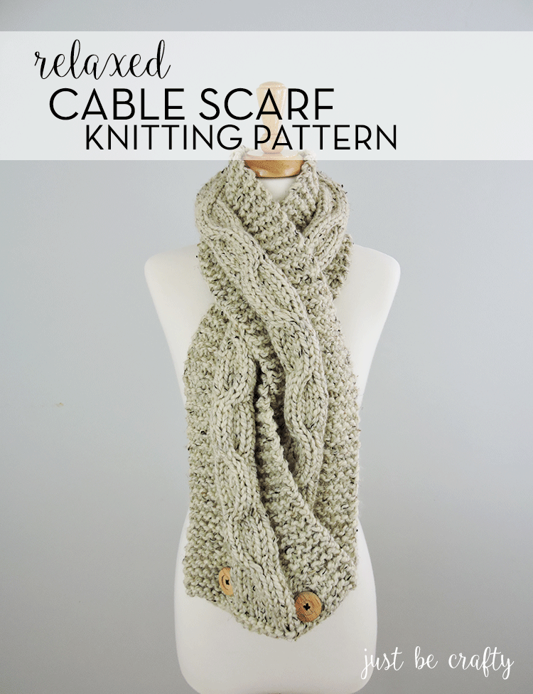 Chunky Relaxed-Cable Scarf; Free pattern by Just Be Crafty