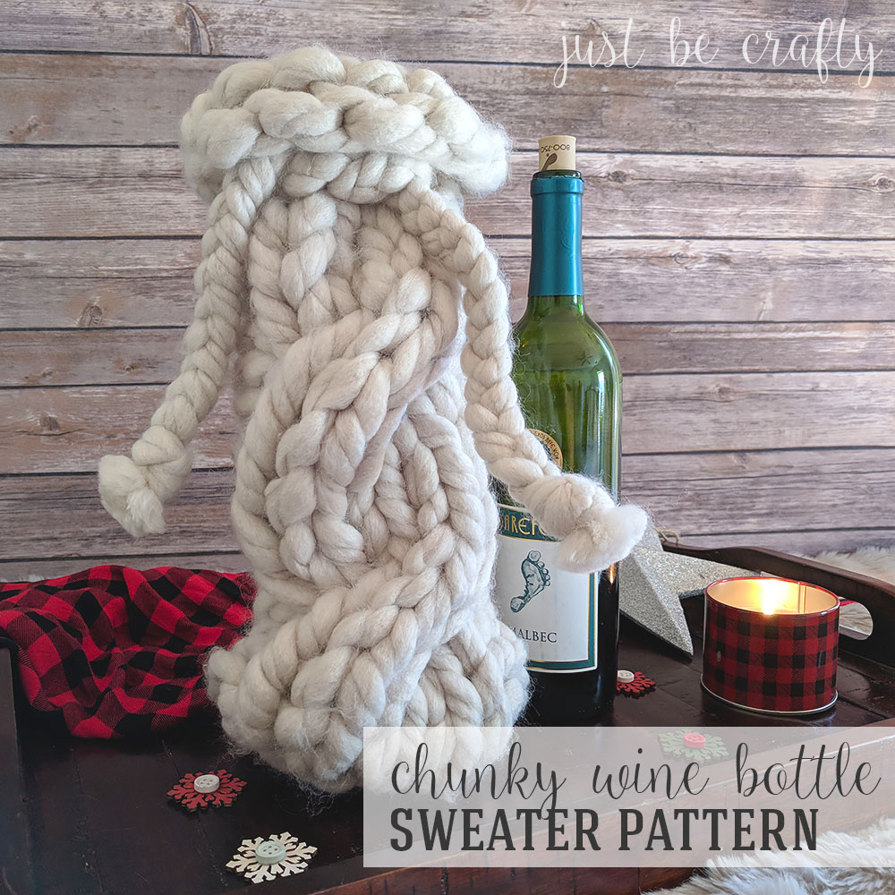 Chunky Wine Bottle Sweater | Free Pattern by Just Be Crafty