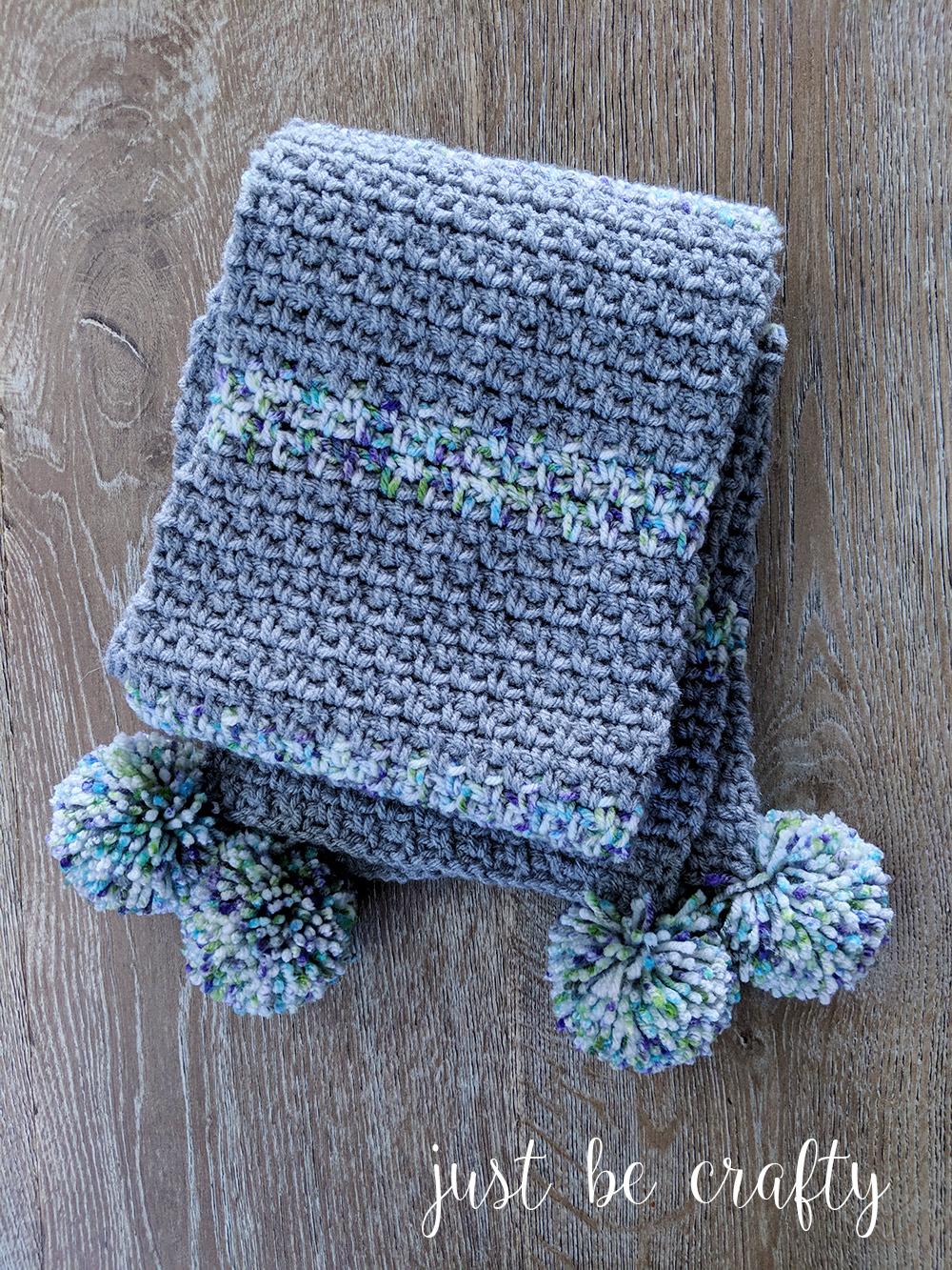 Moss Stitch Pom Pom Scarf