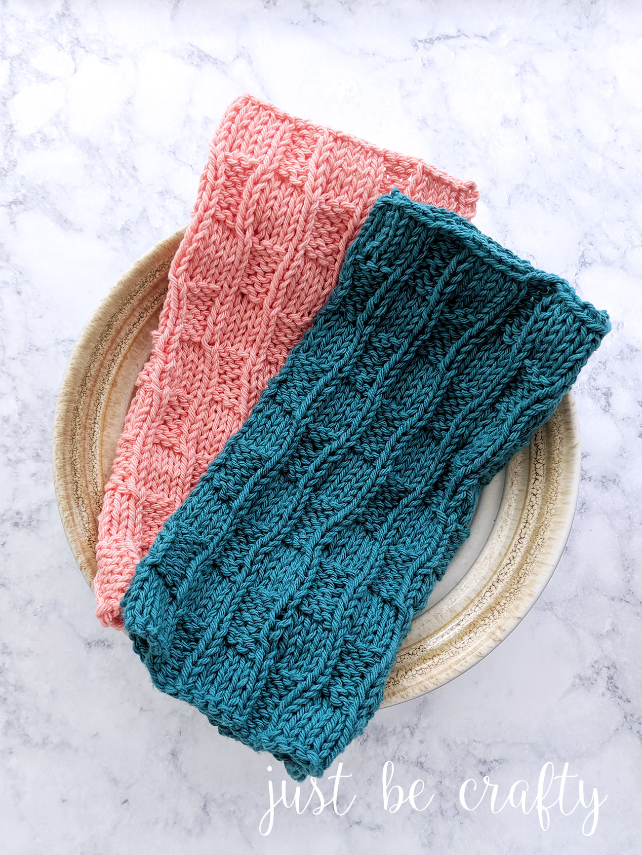Checkered Waves Knitted Dishcloth Pattern