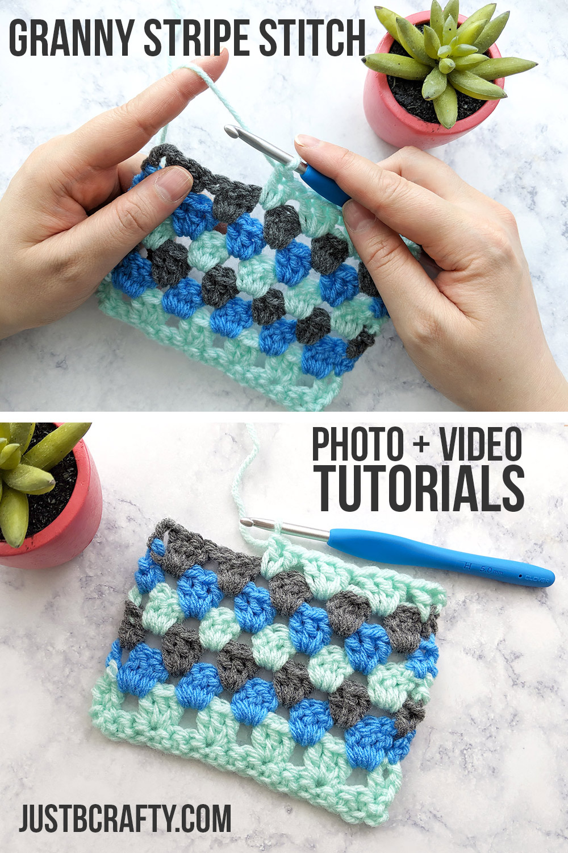 Granny Stripe Stitch Tutorial - Free Pattern by Just Be Crafty