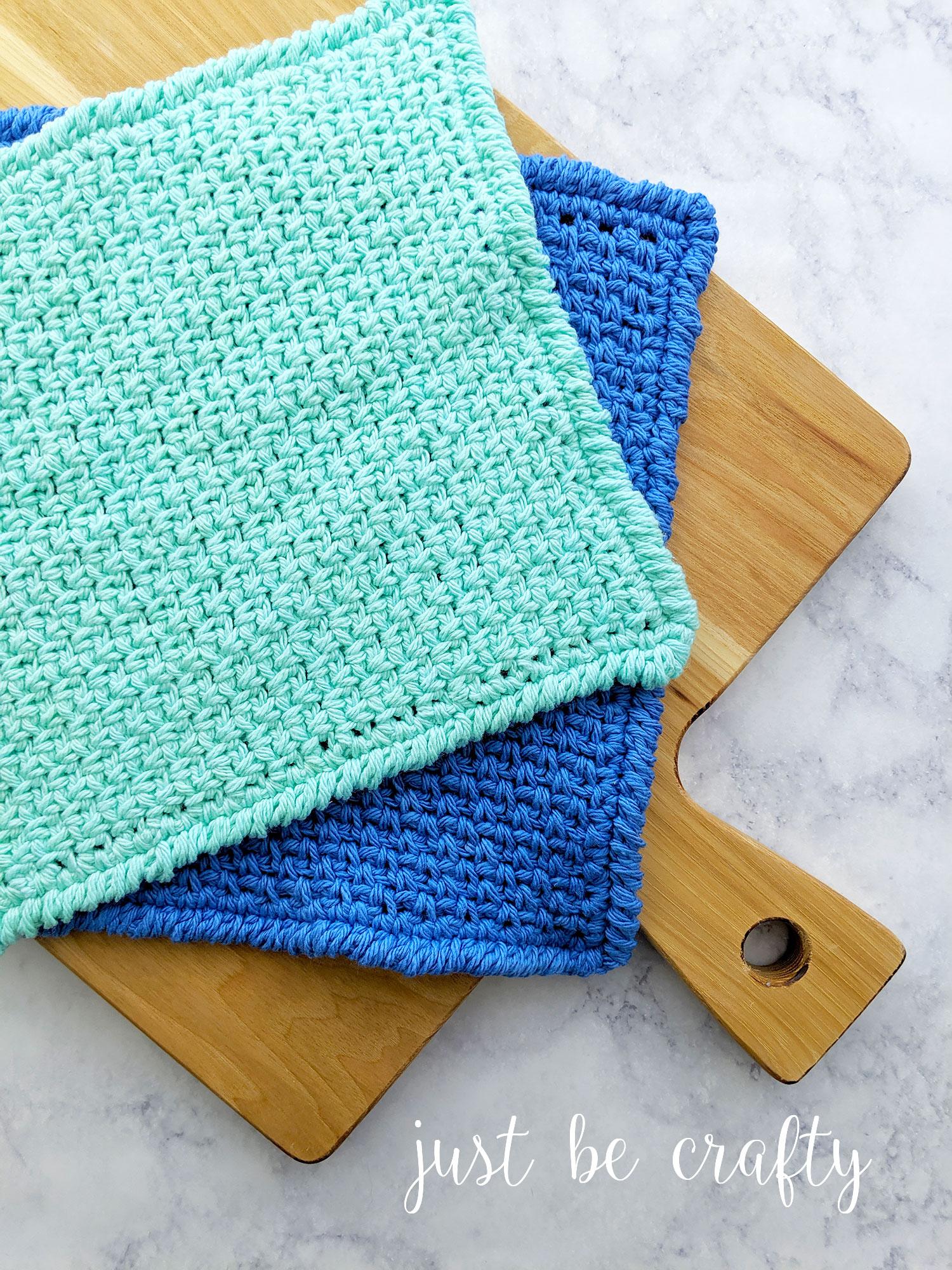 Moss Stitch Dishcloth | Free Pattern by Just Be Crafty