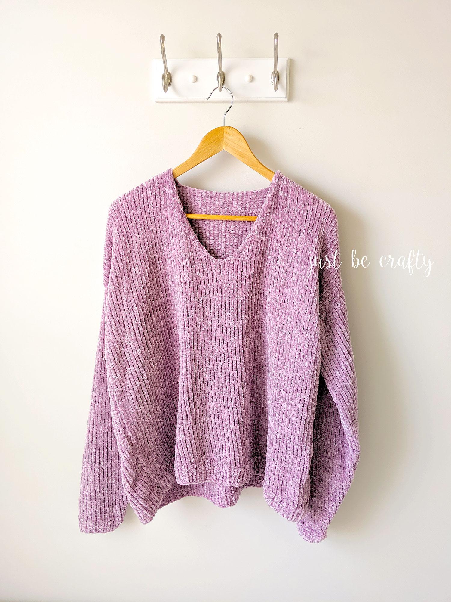 Velvet Slouchy V-Neck Knit Sweater