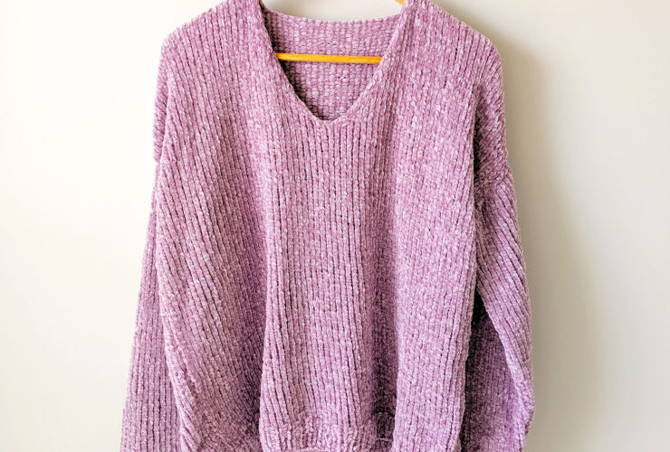 The Velvet Slouchy V-Neck Knit Sweater Part 1: Front and Back Panels