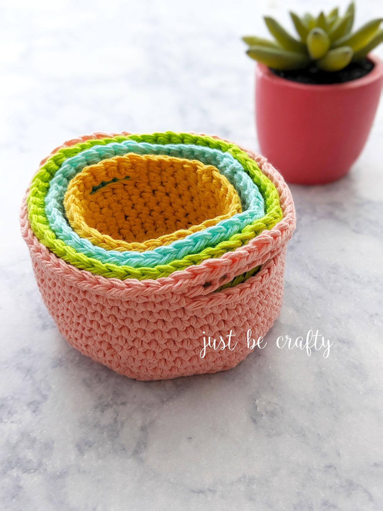 Crochet Nesting Mini Basket Tutorial