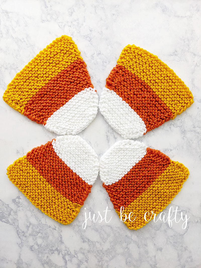 Candy Corn Knit Coasters - Free Knitting Pattern by Just Be Crafty