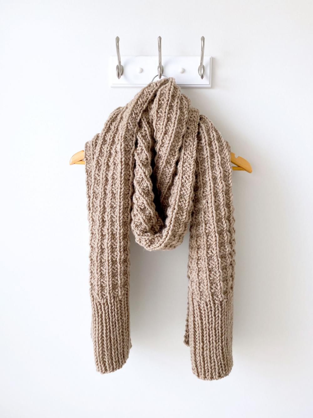 weekend brunch scarf hanging on a hook