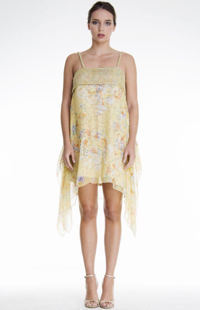 VEREL Yellow Silk Summer Dress