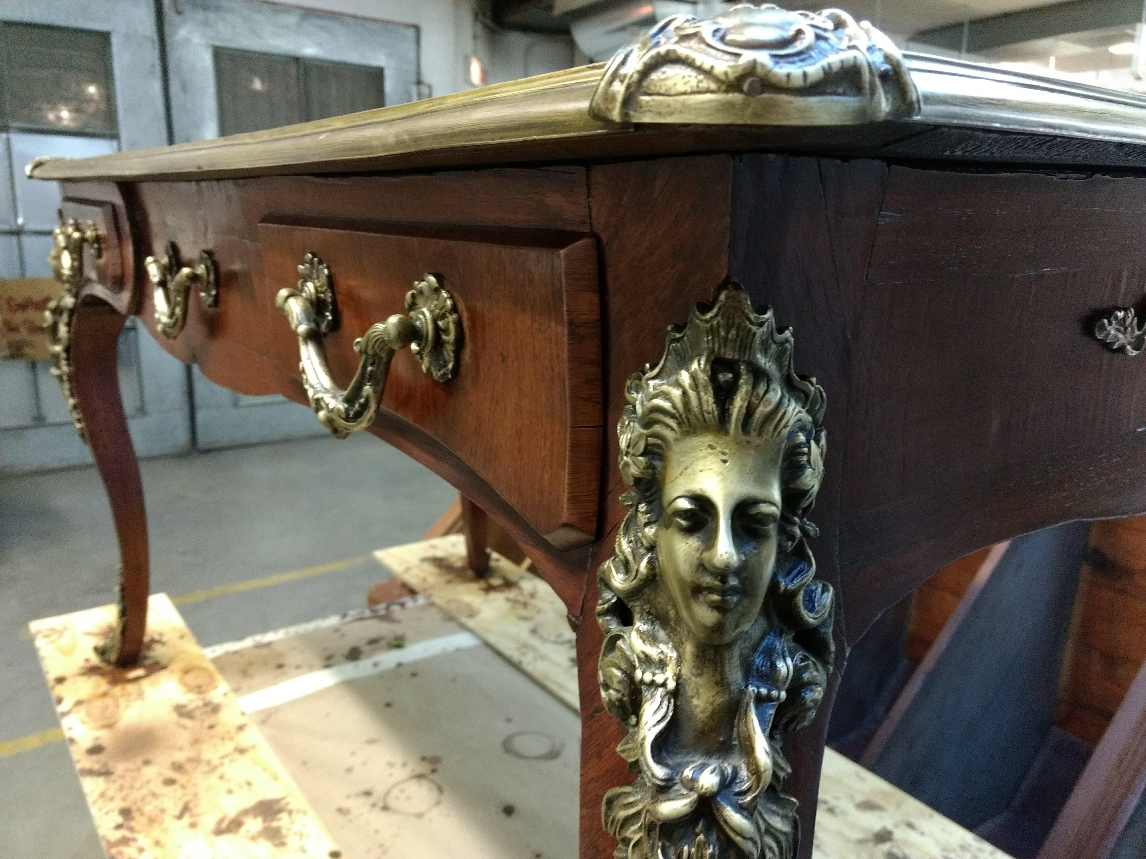 Antique Desk, Louis 15th french desk restoration, ormolu restoration, veneer repair, furniture conservation, furniture repair
