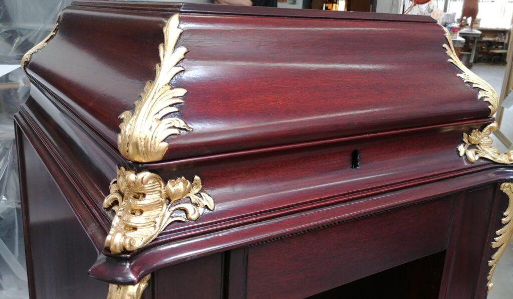 Gold leafing antique victrola furniture
