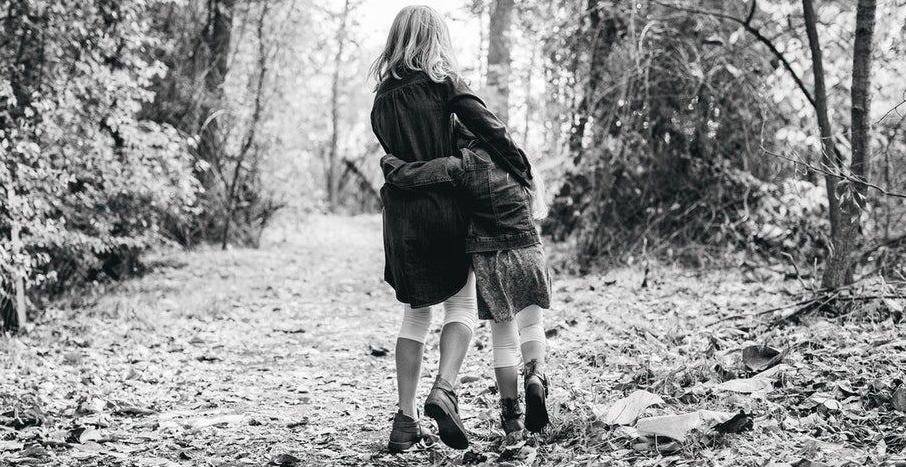 two girls in forest