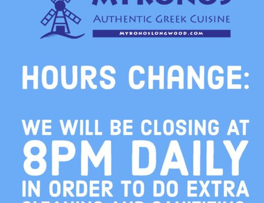 IMAGE: Mykonos Authentic Greek Cuisine of Longwood Florida will be closing nightly at 8pm in order to clean and sanitize.