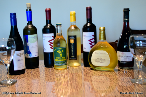 Photo of variety of Greek and Californian Wines