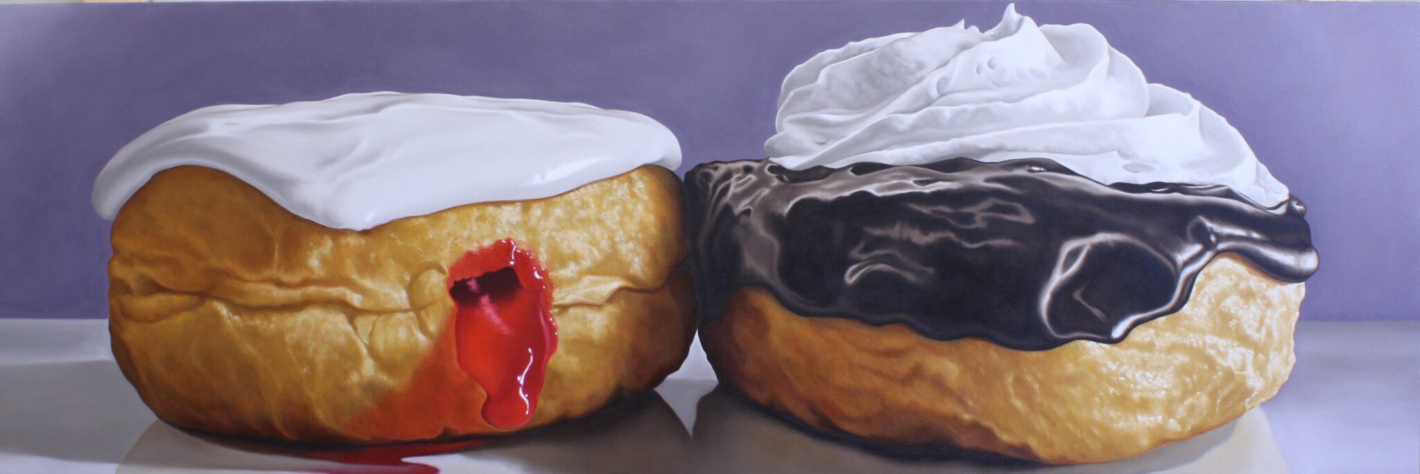Portrait of Two Donuts, Oil on canvas 24 x 72