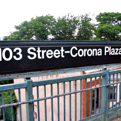 This is an image of the Corona Plaza Subway Station Sign