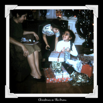 This is an image of Ruth, Brother and Mother at Christmas in the early 1960s