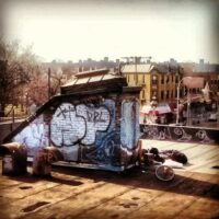 This is an image of a Corona Rooftop With Graffiti
