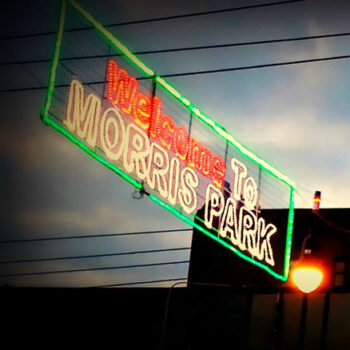 This is an image of a Welcome to Morris Park Christmas Lights Sign