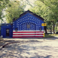 This is an image of Morris Park Old Train Station Painted Like American Flag