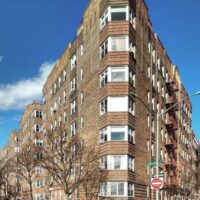 This is an image of a Pelham Parkway Triangular Apartment Building