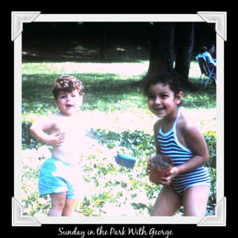 This is an image of Ruth and George as children playing in the park in the early 1960s
