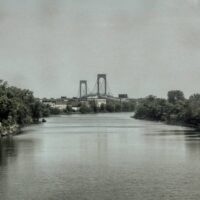 This is an image of Bronx-Whitestone Bridge Seen From Westchester Creek In The Bronx