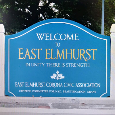 This is an image of Welcome to East Elmhurst Sign