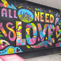 This is an image of LOVE Mural in Sunnyside Queens