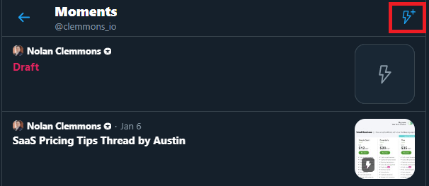 Create New Twitter Moment