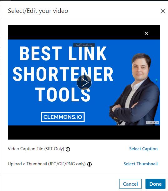 linkedin video editor interface