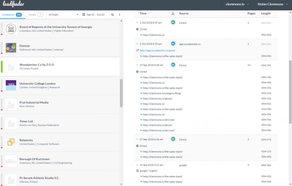 Product Screenshot of LeadFeeder showing sample data