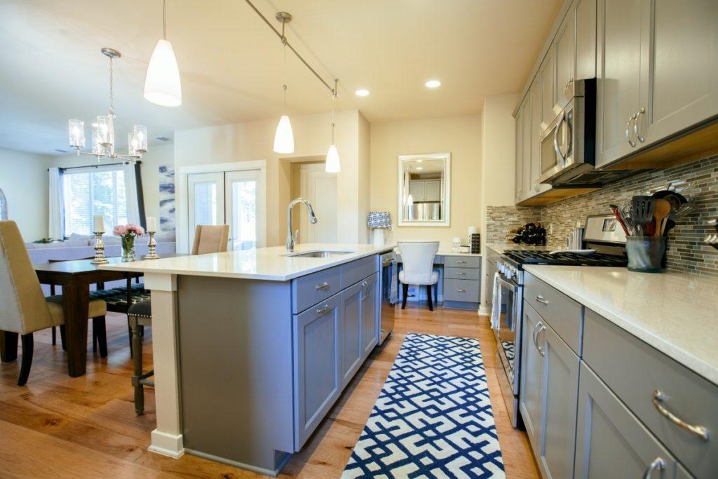 modern home kitchen diner green grey fitting