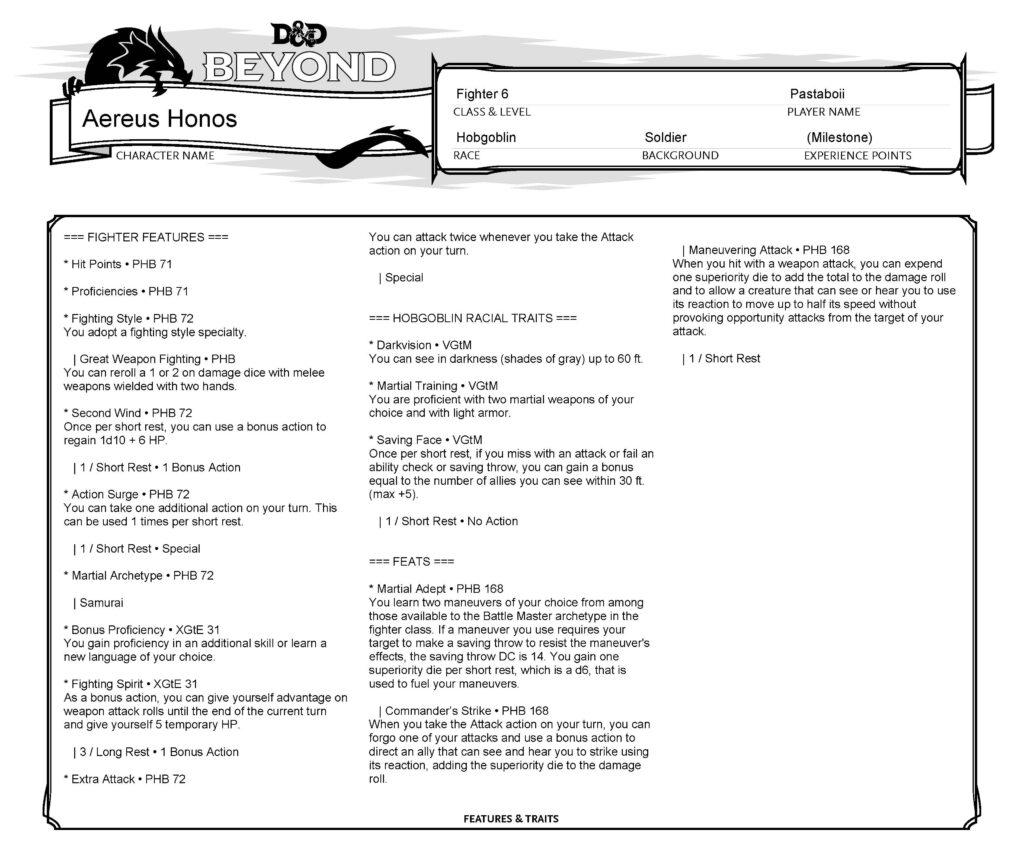 Aereus Honos Info Sheet