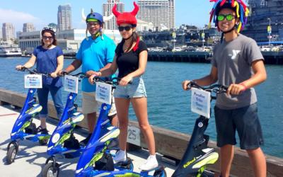 Trikke touring sunny San Diego, California