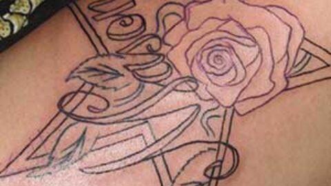 Photo Tutorial: star, script, and flower tattoo