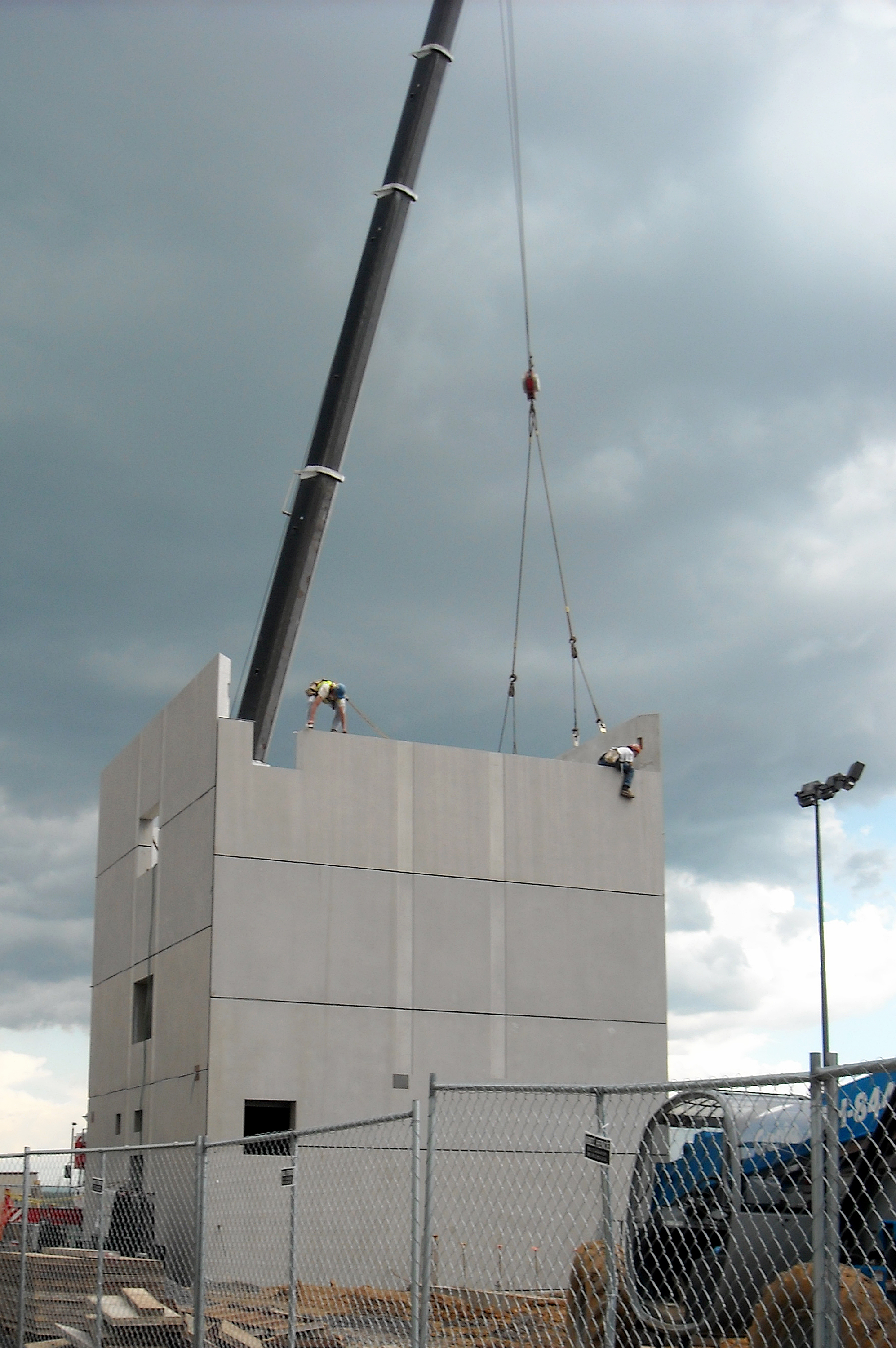 The Zartman team works on the air traffic control tower.