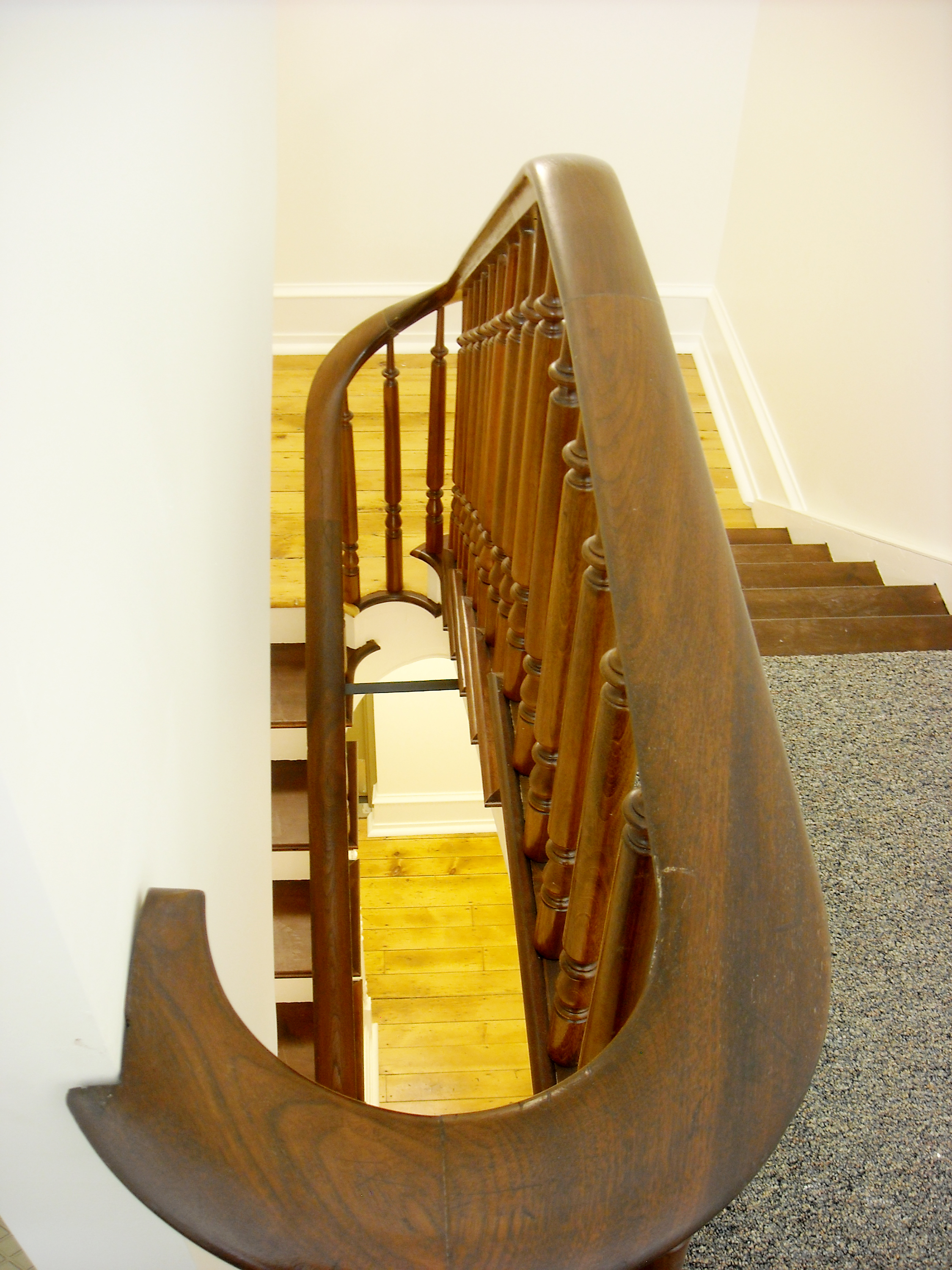 The stairway after renovations at the DeWitt Building at Bucknell University.