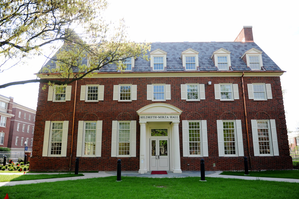 The exterior of Hildreth-Mirza Hall at Bucknell University.
