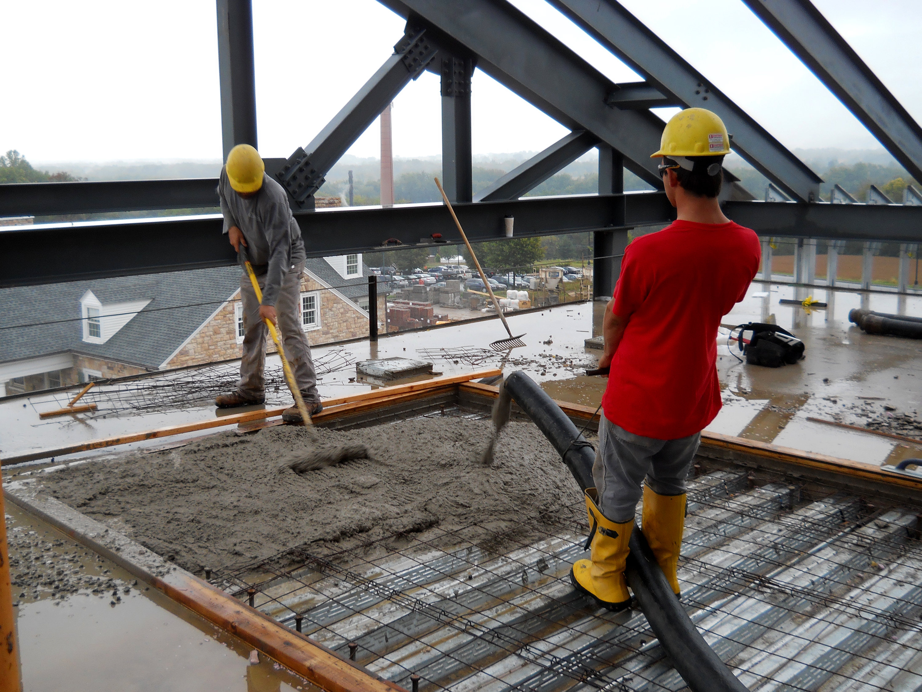 The Zartman team works on the Academic West building at Bucknell University.
