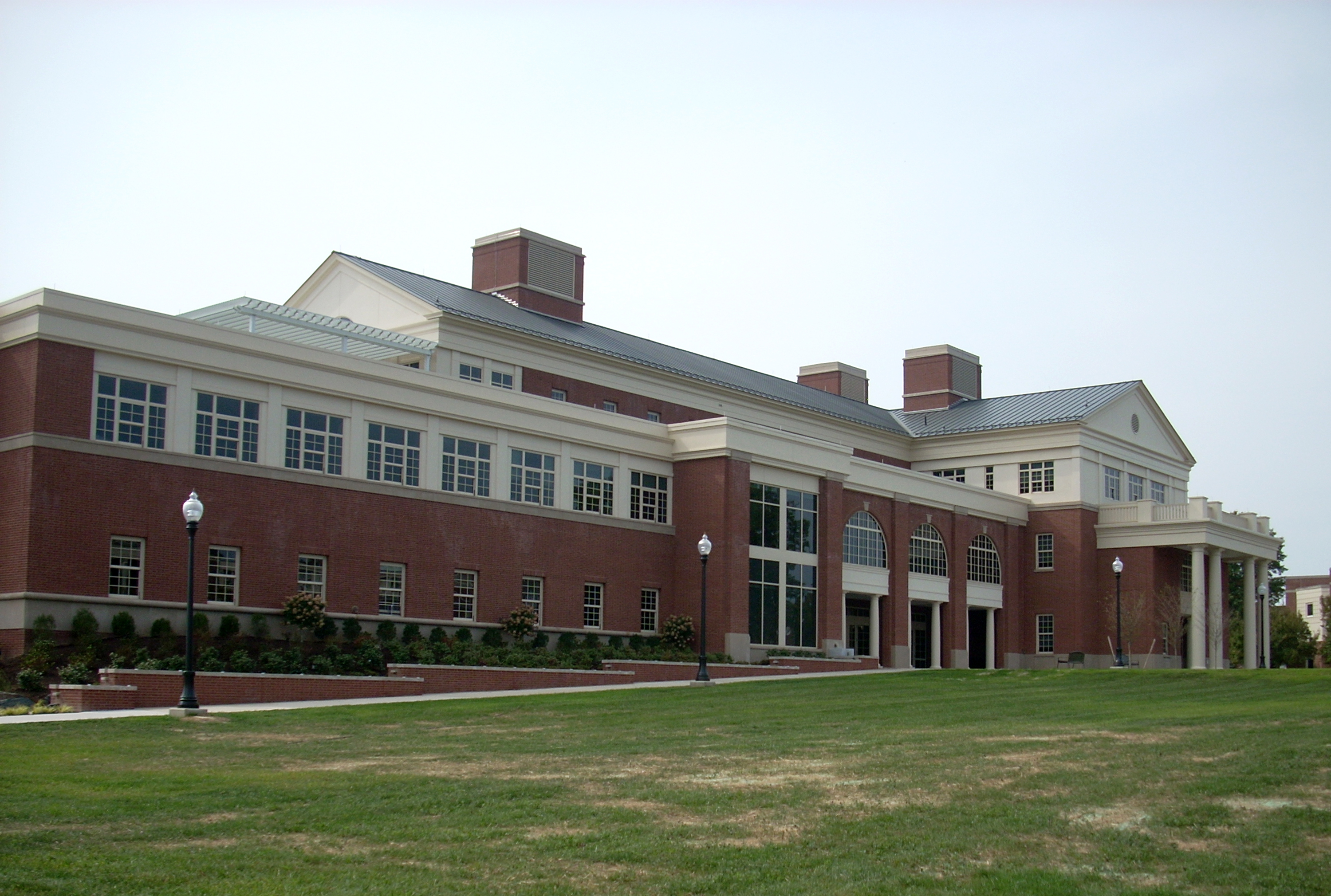 The outside of the completed Academic West building at Bucknell University.