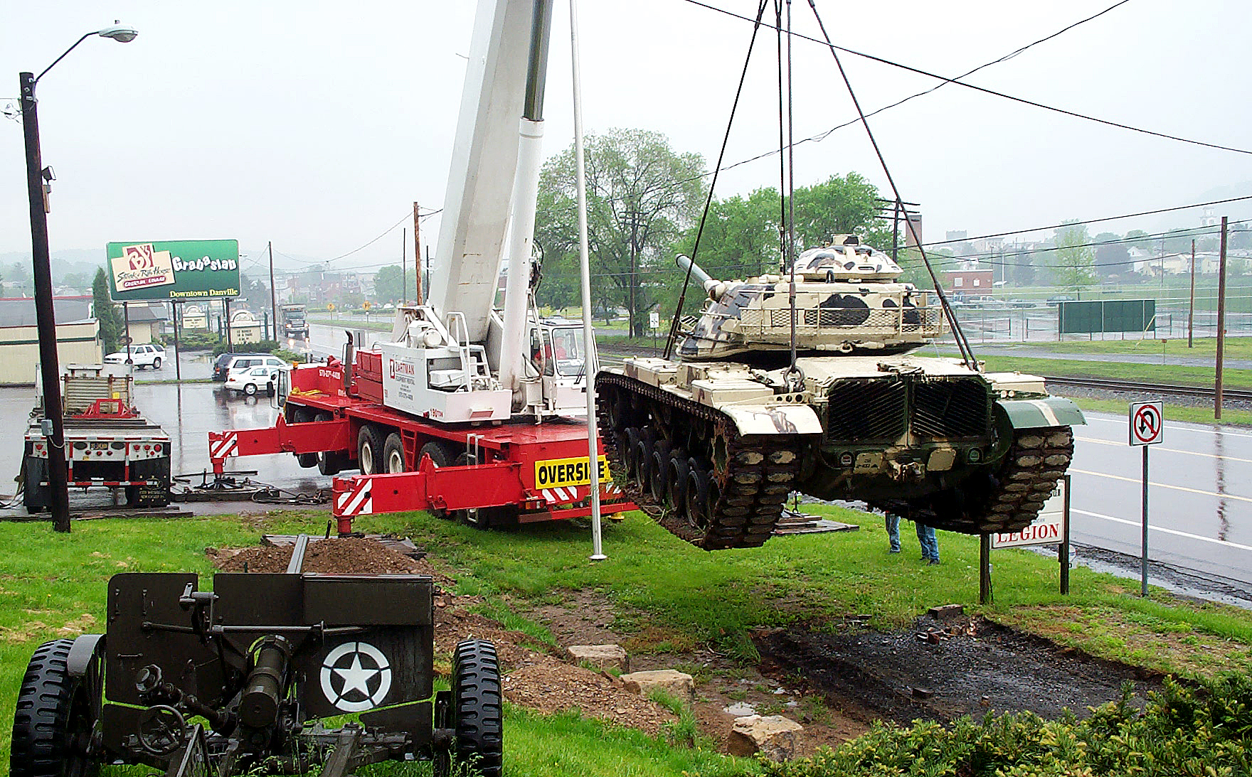 A replica tank is placed in front of the Danville American Legion.