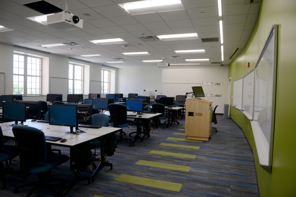 A classroom inside Academic East at Bucknell University