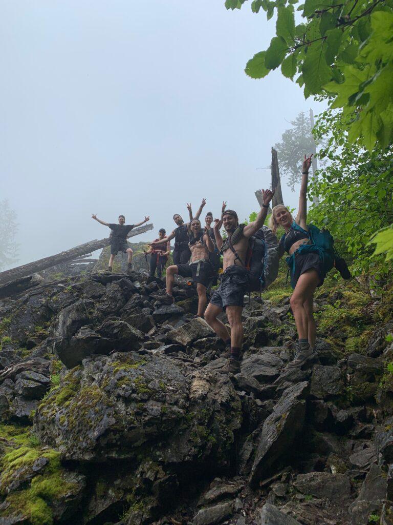 group shot hiking pierce lake trail