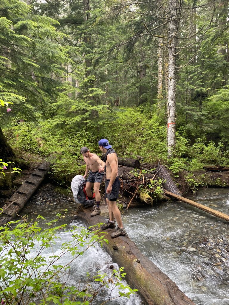 crossing a log over a river hiking pierce lake trail