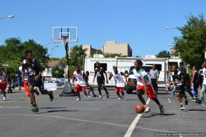 Basketball game hosted by C-Ball League at Bronx Summer Fest 2016.