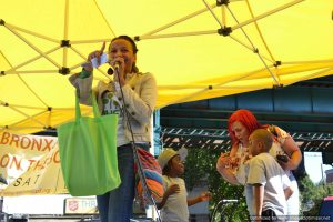Kerry McLean, WHEDco's Vice-President of Community Development, onstage at Bronx Summer Fest 2016.