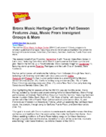 09-12-2019 Broadway World_Bronx Music Heritage Center's Fall Season Features Jazz and Music From Immigrant Groups and More
